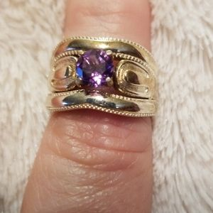 Sevilla Silver Three Ring Amethyst Set 925 Silver